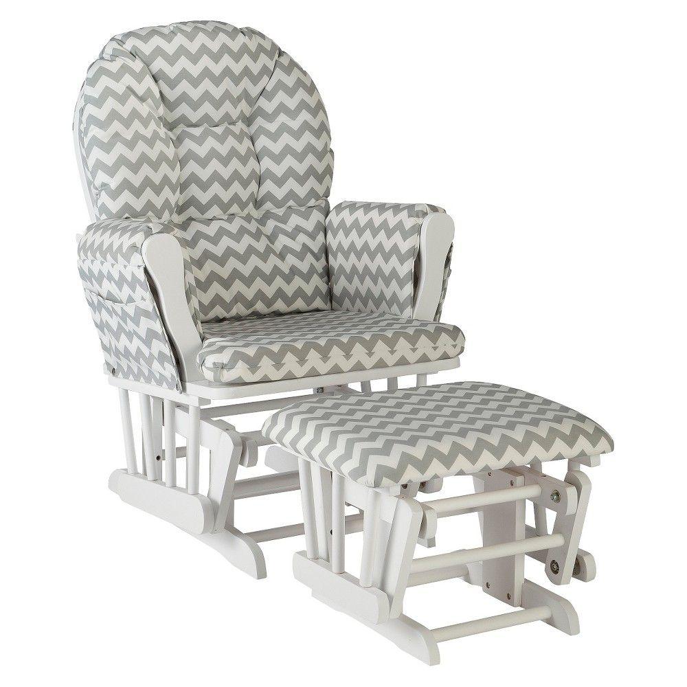 Super Stork Craft Hoop White Glider And Ottoman Gray Chevron In Machost Co Dining Chair Design Ideas Machostcouk