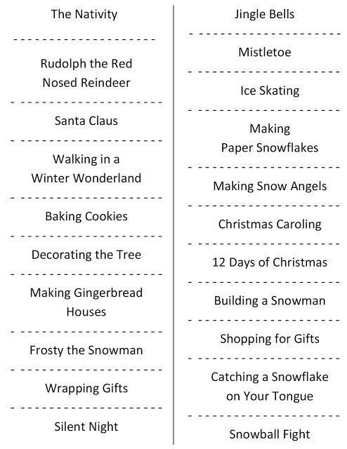 Christmas Charades (free printable party game) Christmas Ideas
