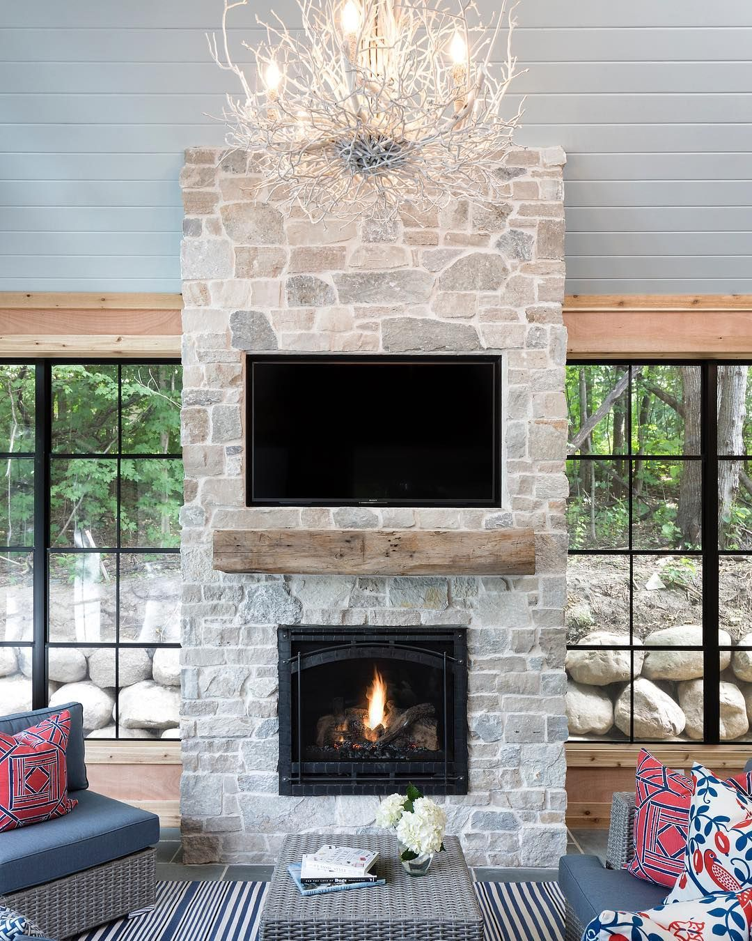 Grace Hill On Instagram Time To Start Enjoyng That Gorgeous Stone Fireplace On Your Screen Por Lake House Interior Stone Fireplace Makeover Fireplace Remodel