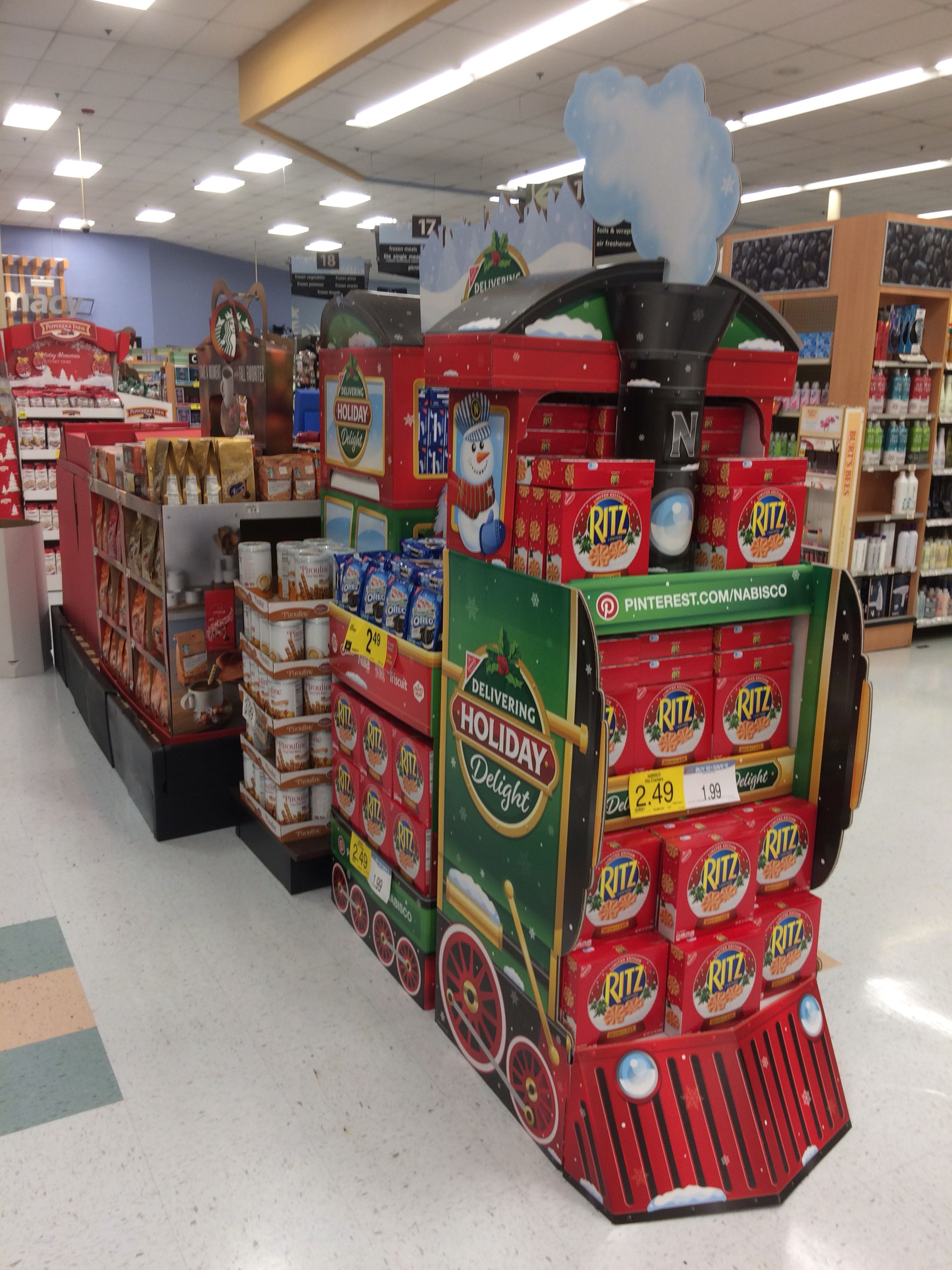 Cute Christmas Train Full Of Products On Sale