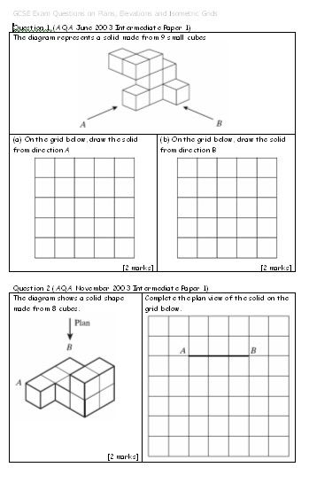 Plans And Elevations Isometric Drawing Homework Worksheets Math Geometry