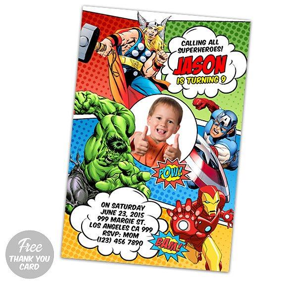 Avengers Invitation Birthday Assemble Printable