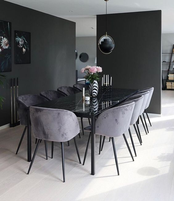 Interior Design Ideas For A Glamorous Dining Room Luxury Dining Room Glamourous Dining Room Black Dining Room Black dining room design ideas