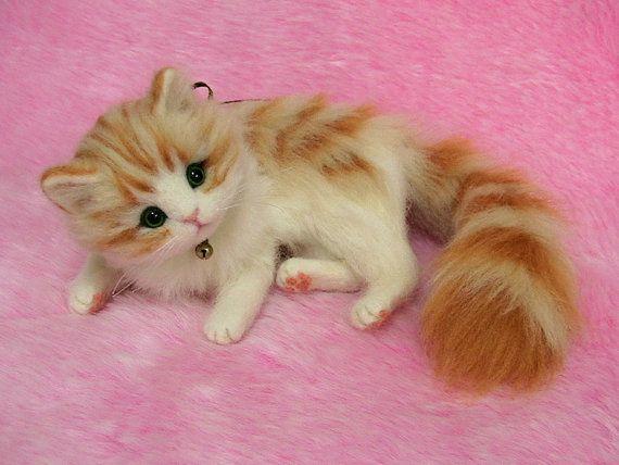 Needle Felted Cute Fluffy Kitten Orange Tabby Miniature Wool Etsy Felt Cat Felt Animals Needle Felted Cat