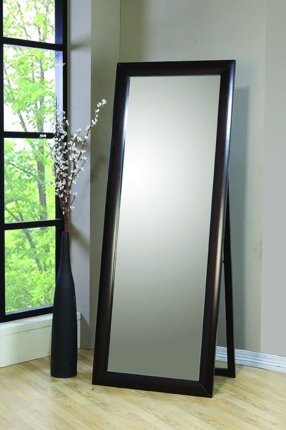 Transitional Deep Cappuccino Standing Mirror 200417 Floor Mirror