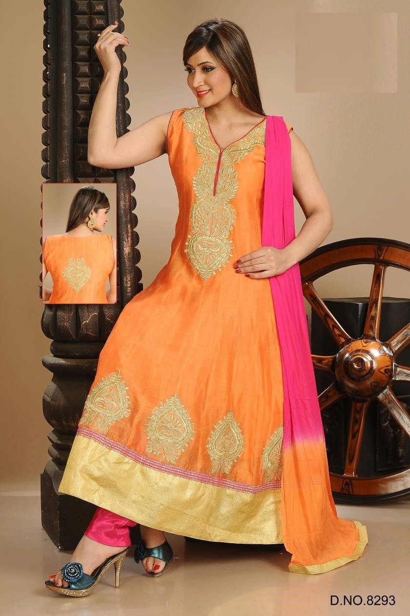 Indiananarkali latest design orange color readymade churidar