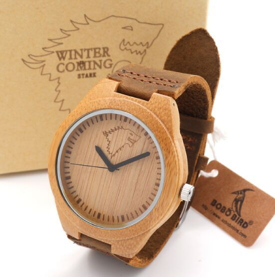 Men's Bamboo Wooden Bamboo Watch Quartz Real Leather Strap with Gift Box