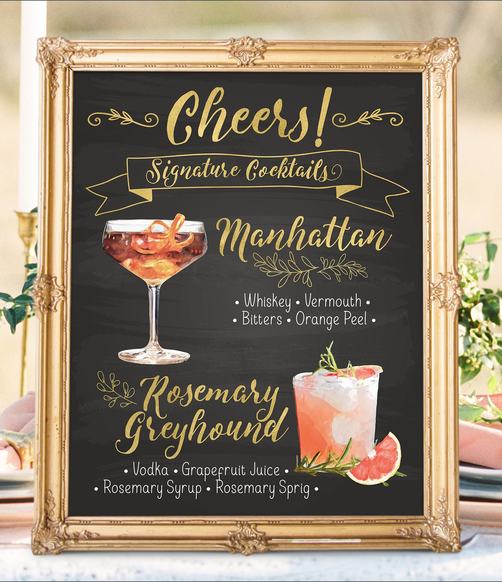 Digital Printable Wedding Signature Drinks Sign Bar Menu Watercolor Wedding Signs Wedding Cocktails Christmas New Year Chalkboard Idm10 In 2020 Wedding Signature Drinks Signature Cocktails Wedding Signature Wedding Drinks Sign