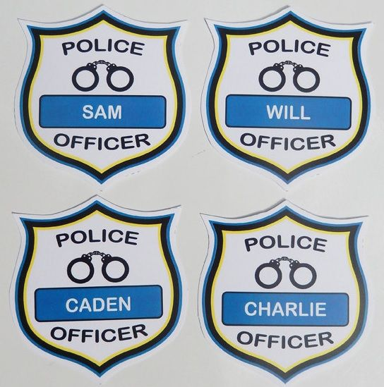 photograph relating to Printable Police Badges identify status badges Noahs 5th birthday inside of 2019 Law enforcement get together