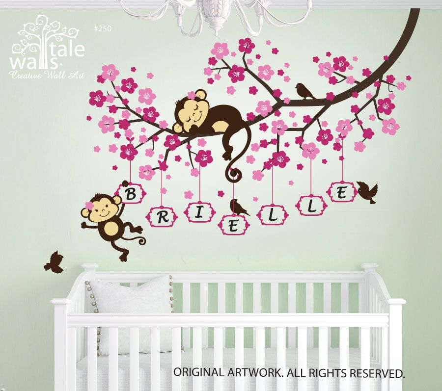 Cherry Blossom Tree Branch Wall Decal With Cute Monkeys And Name - Wall stickers for girlspink cherry blossom tree with birds wall stickers girls bedroom