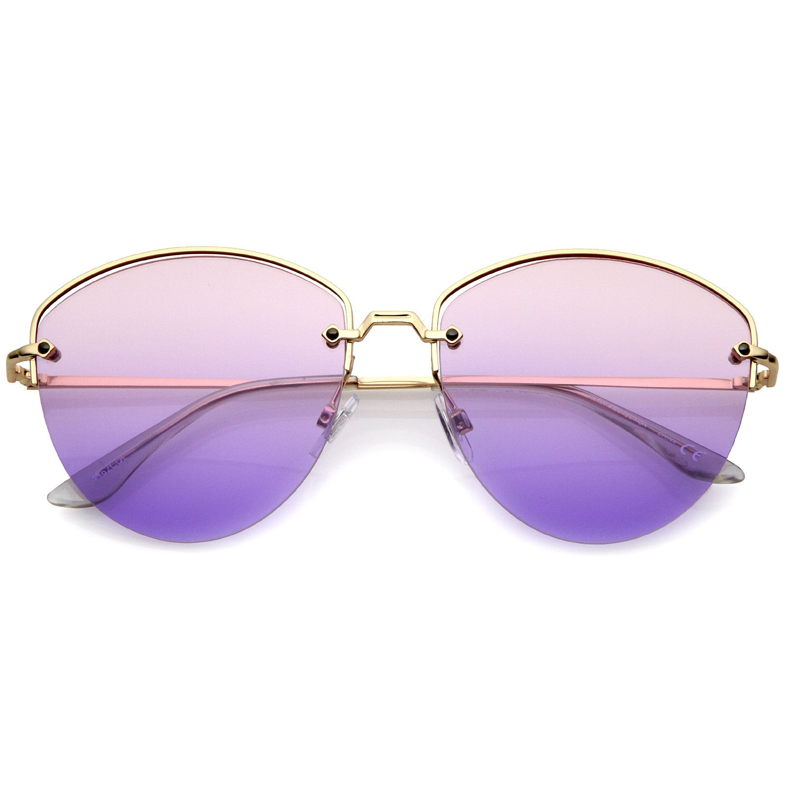 ffb86f6397 ... these metal sunglasses are designed with a semi-rimless frame and  gradient colored flat lenses. Ultra slim metal temples and a geometric-s