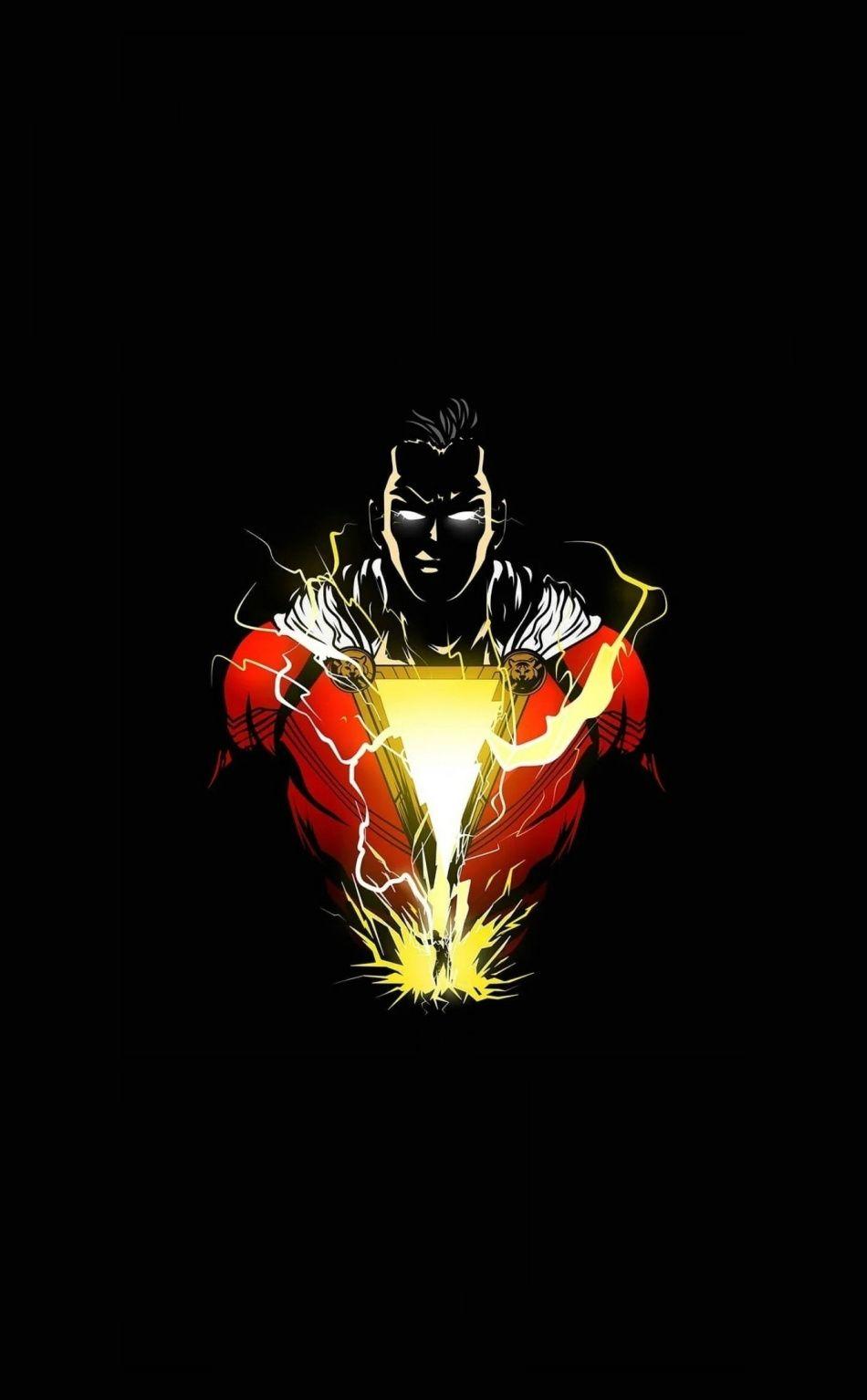 Angry Shazam, superhero, minimalist, 950x1534 wallpaper