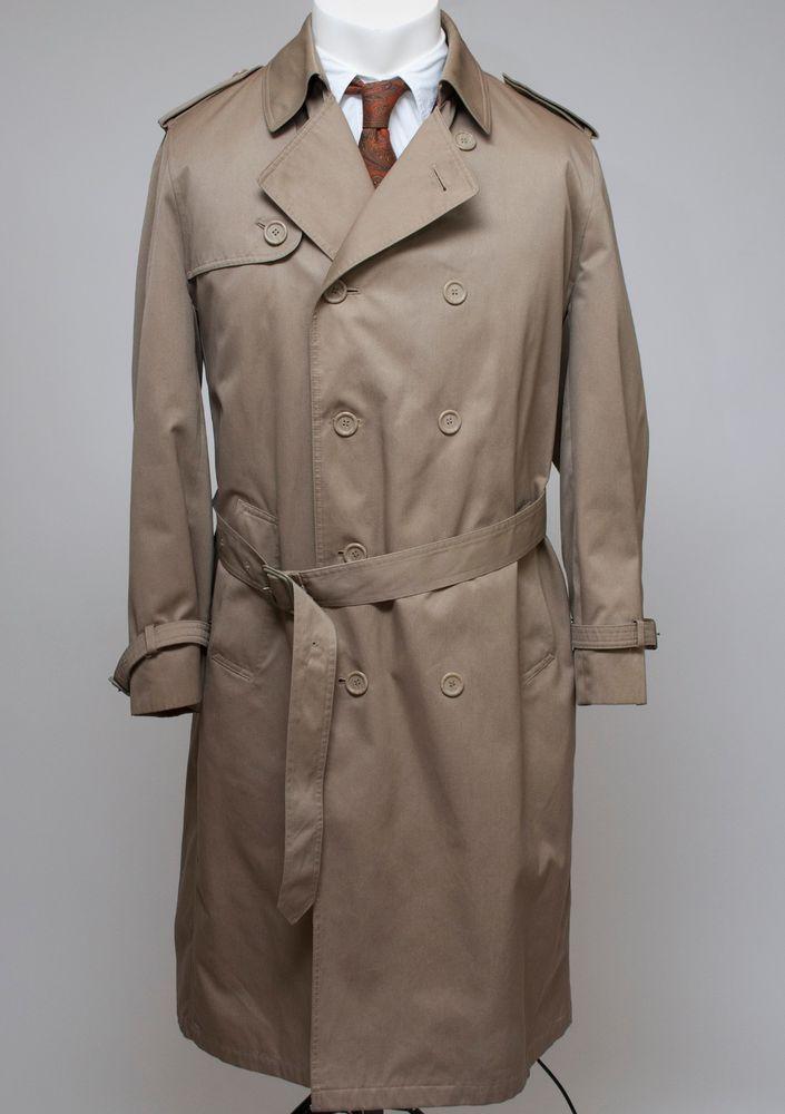 new york new collection double coupon Details about OLEG CASSINI Men's Khaki Rain/Trench Coat ...
