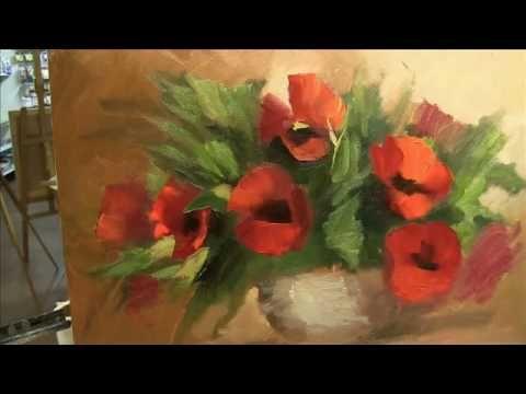 Pintar Flores en Acrilico - Cuadro Amapolas y Lunares - - YouTube