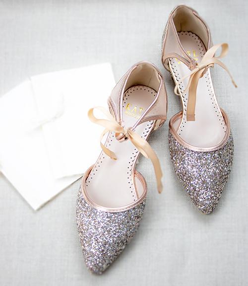 Olivia Rose Gold Wedding Shoes Glitter Ballet Flat Rose Gold