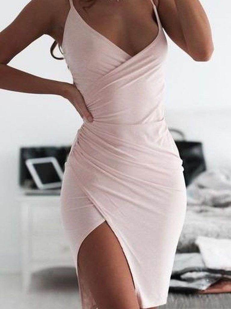 Cheap Homecoming Dresses Column Slit Short Prom Dress Sexy Party Dress JK616 #cocktailpartydress