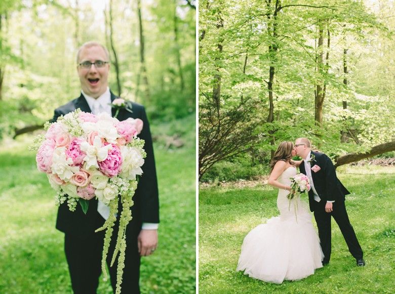 Suzanne   Nick \ Pennsylvania   New Jersey Wedding Photography {Holly Hedge Estate} The Groom loves the bouquet!