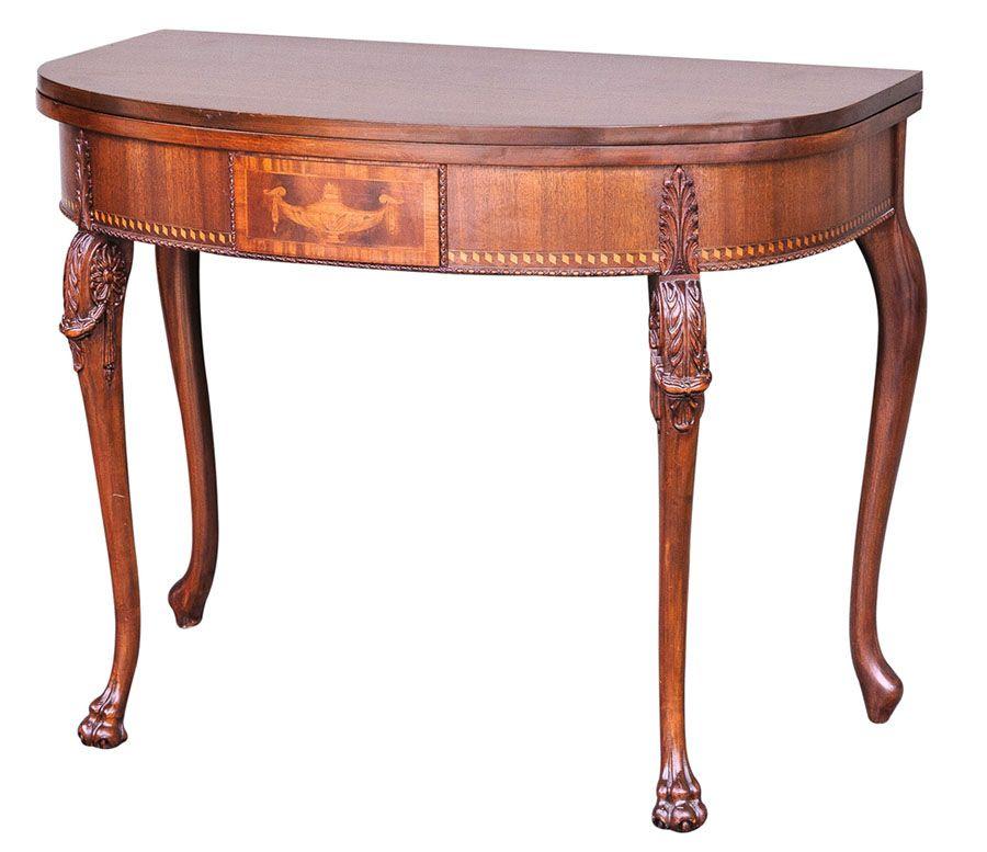 georgian -A Unique Georgian Style Mahogany Demilune Console Table LIT CANDELABRA IN CENTER
