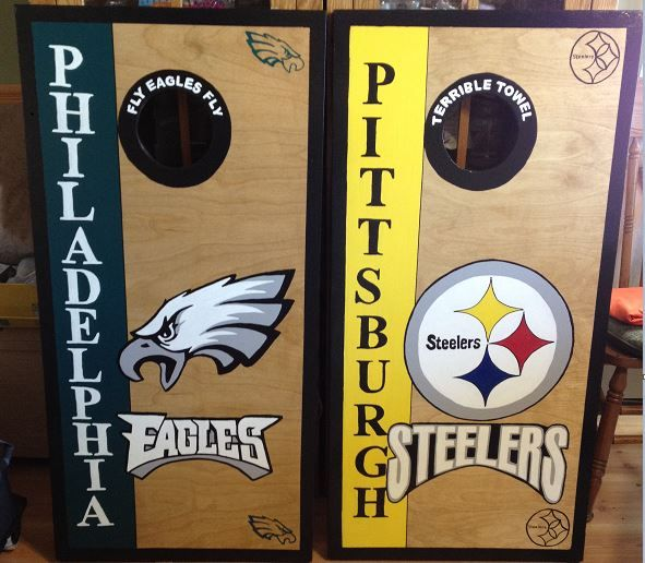 Philadelphia Eagles/Pittsburgh Steelers Custom Made Corn hole Boards ...
