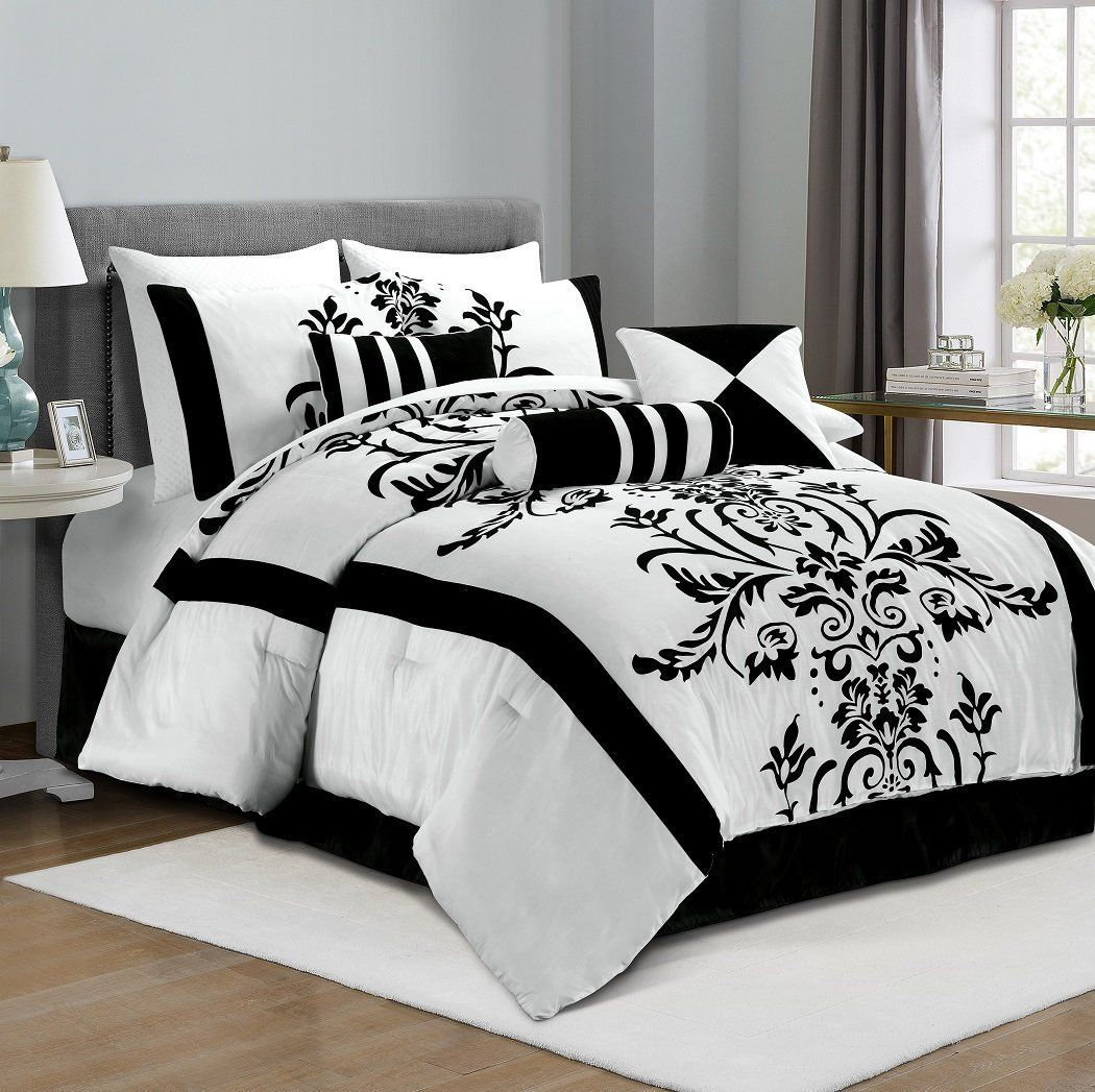 Elegant Black And White Bedroom Ideas Chezmoi Collection 7 Piece With Fl Flocking Comforter Set Bed In A Bag For King Size Bedding