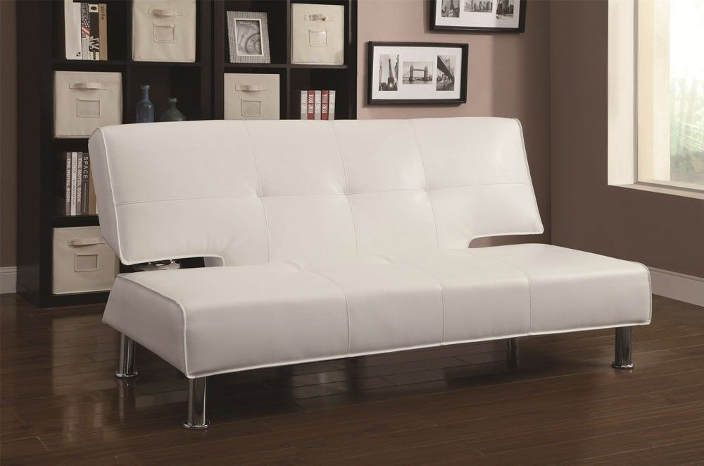 Berro Modern Style White Futon Contemporary Sofa Bed Leather