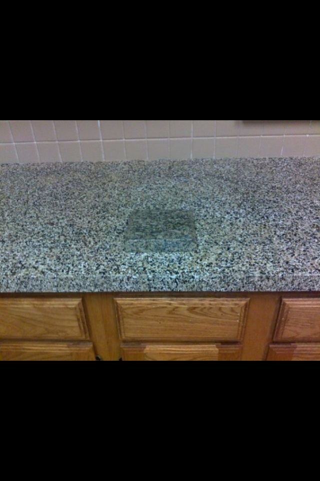 faux granite counter top done with bear paint and primer and paint