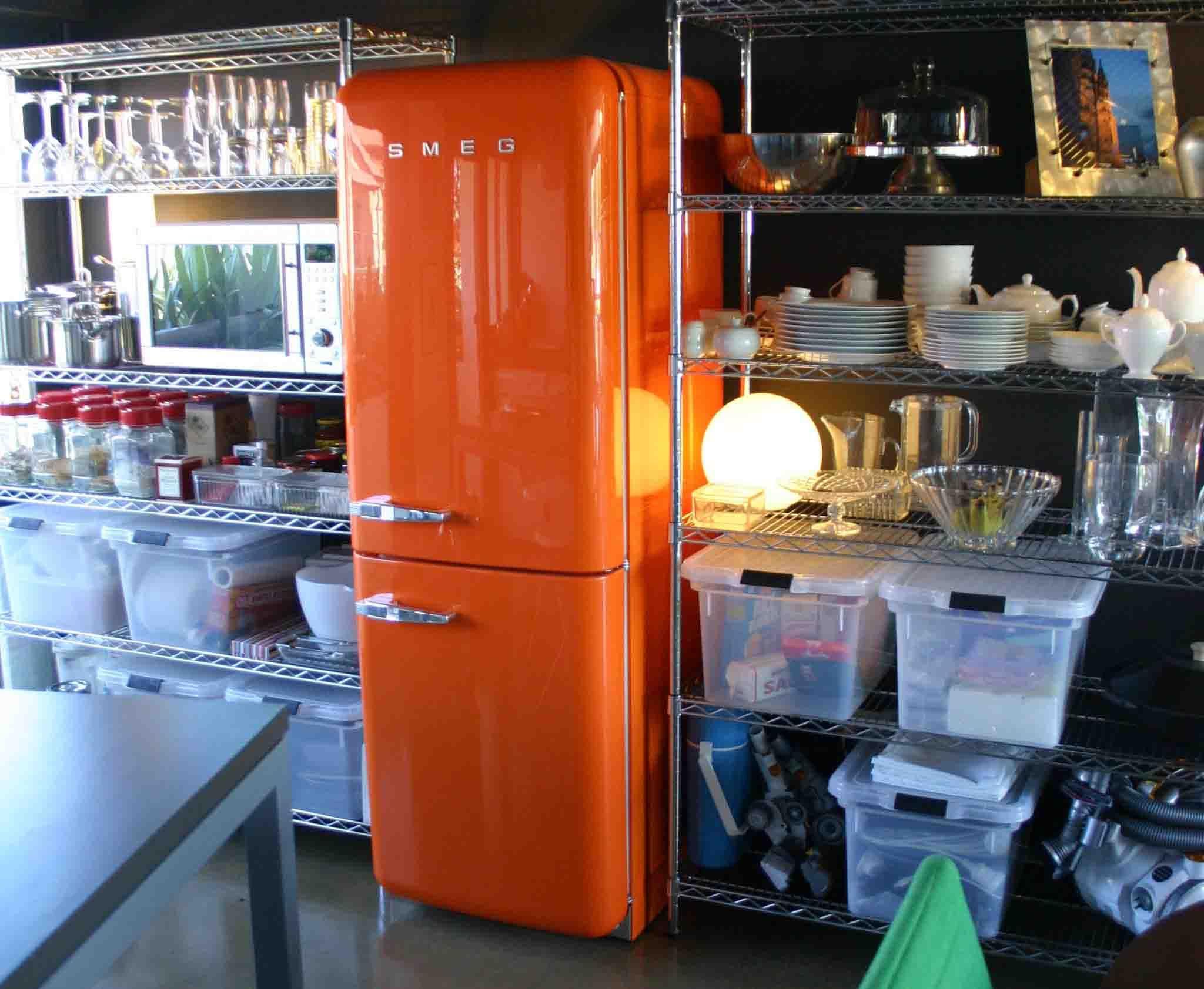Industrial Kitchen Small Apartment Kitchen Smeg Fridge Smeg Refrigerator