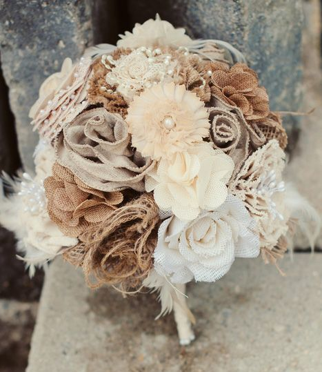 Rustic Wedding Arch With Burlap: Burlap Bouquet Photo By Melissa Copeland