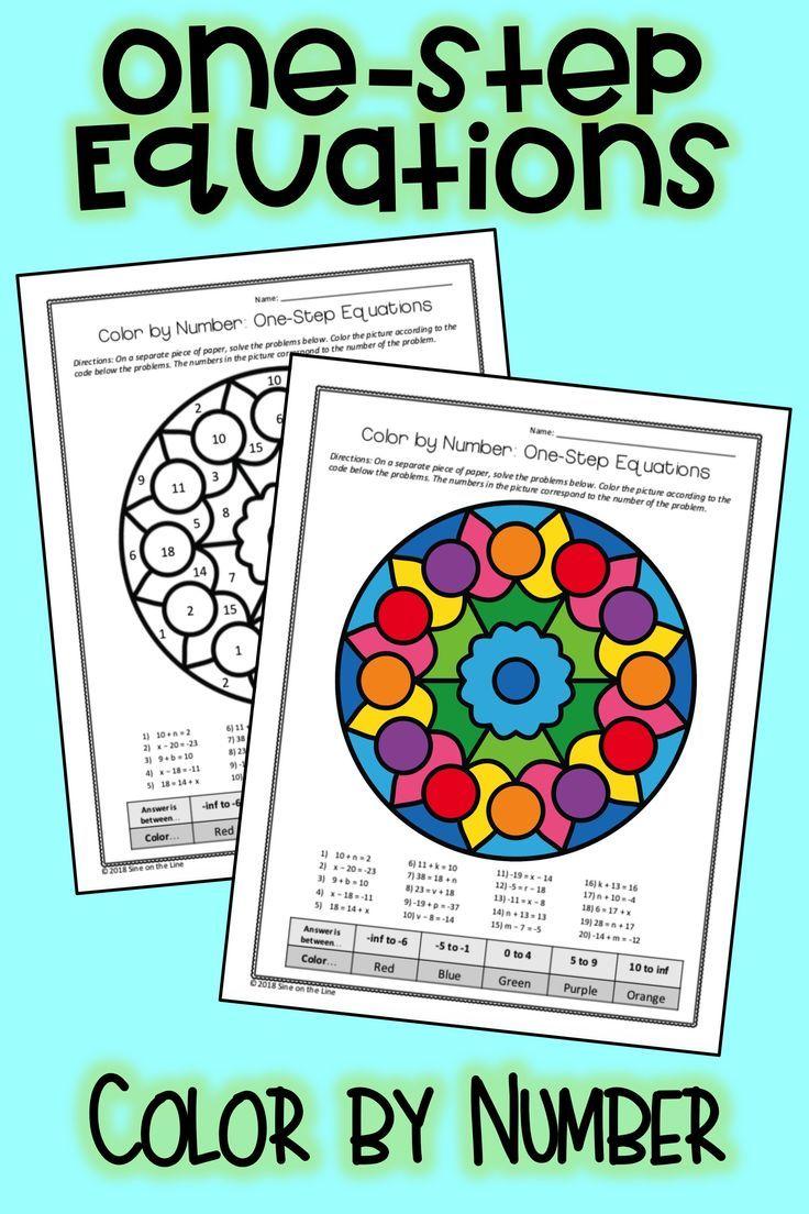 OneStep Equations Algebra Color by Number One step