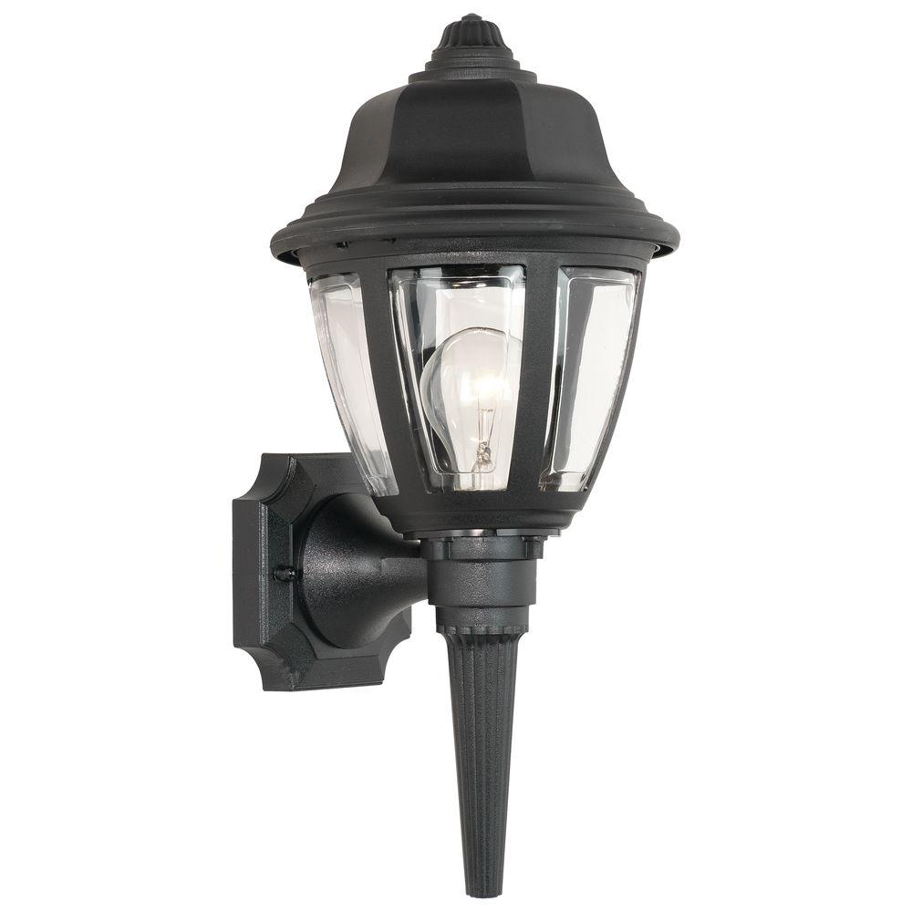 Thomas Lighting 1 Light Black Outdoor Wall Mount Lantern Sconce Sl94427 Outdoor Sconces Traditional Wall Sconces Outdoor Walls