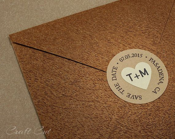 30 custom save the date stickers round labels with heart personalized envelope seals kraft stickers circle