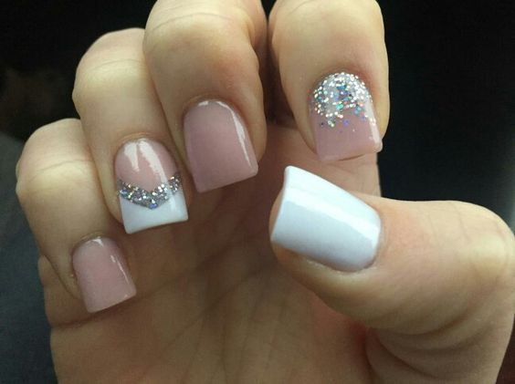 Acrylic Silver Glitter Awesome Spring Nails Design For Short