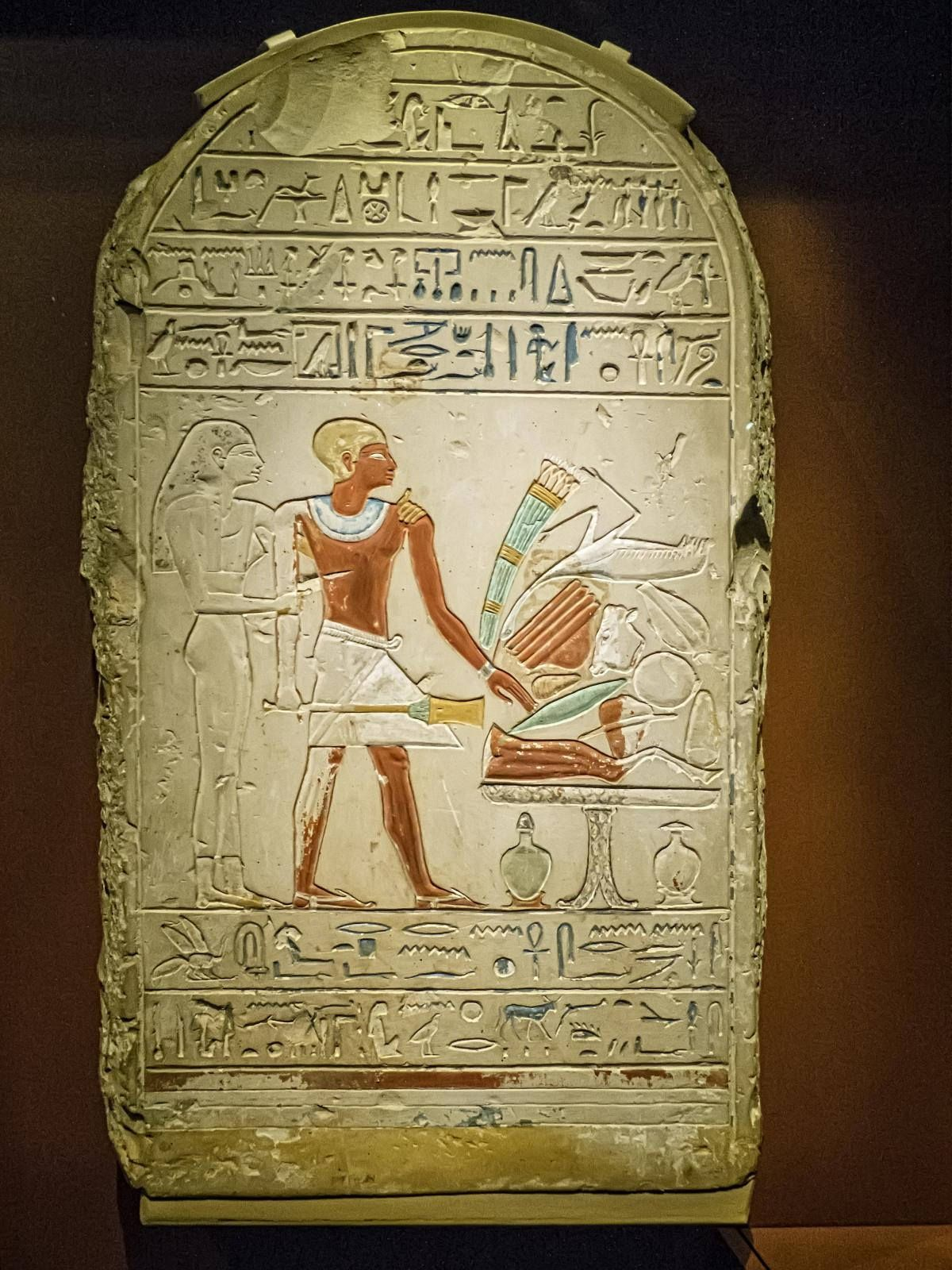 https://flic.kr/p/NM7VTh | Stele depicting the deceased with an offering table laden with food Abydos, Egypt Middle Kingdom 12th Dynasty 1970-1950 BCE Limestone | Photographed at the Nelson-Atkins Museum of Art, Kansas City, Missouri.