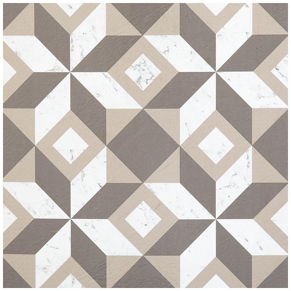 Achim Retro Geometric 12 Inch Square Peel Stick Vinyl Floor Tiles In White Grey Set Of 20 Bed Bath Beyond Vinyl Flooring Tile Floor Retro Tiles