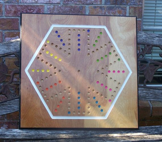 Aggravation Type Marble Game Dual Sided 4 And 6 Player Board Etsy Marble Games Wooden Board Games Board Games