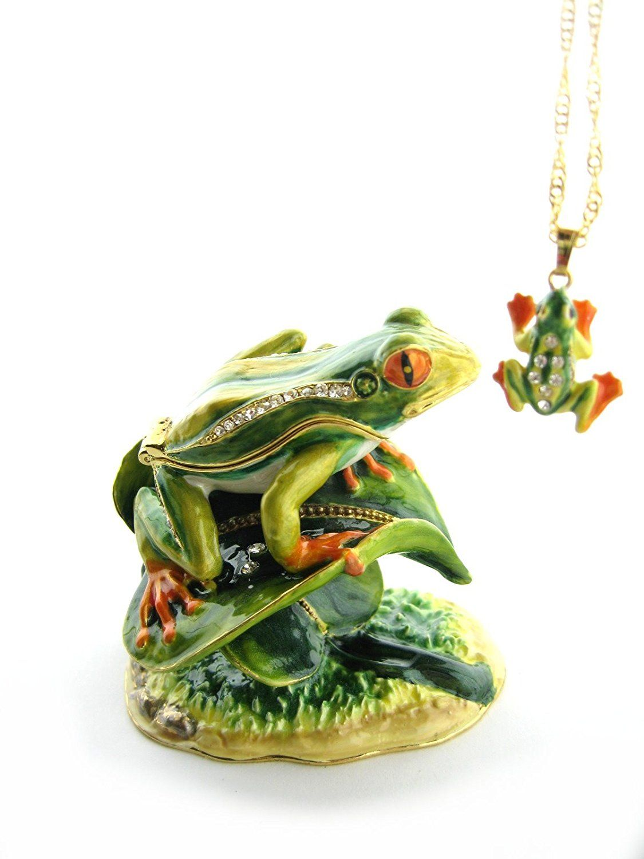 Amazon Frog On Leaf Bejeweled Trinket Box Home