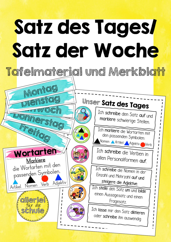 Satz des Tages / Satz der Woche   Grundschule ...
