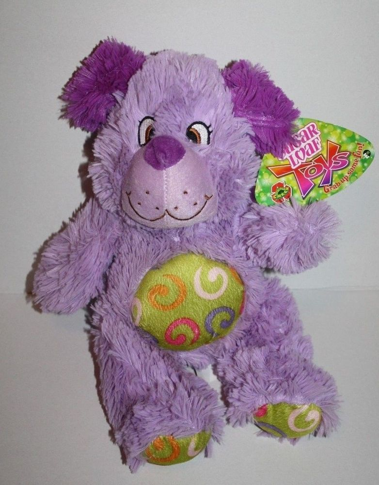 Purple Shaggy Plush DOG Potbelly Green Swirls Sugar Loaf