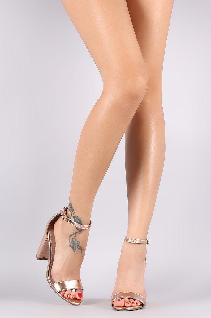 Breckelle Metallic Open Toe Ankle Strap Chunky Heel