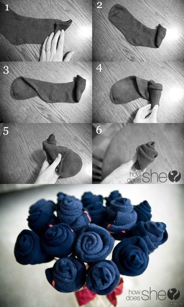 Букет из носков для мужчины своими руками - фото мастер-класса