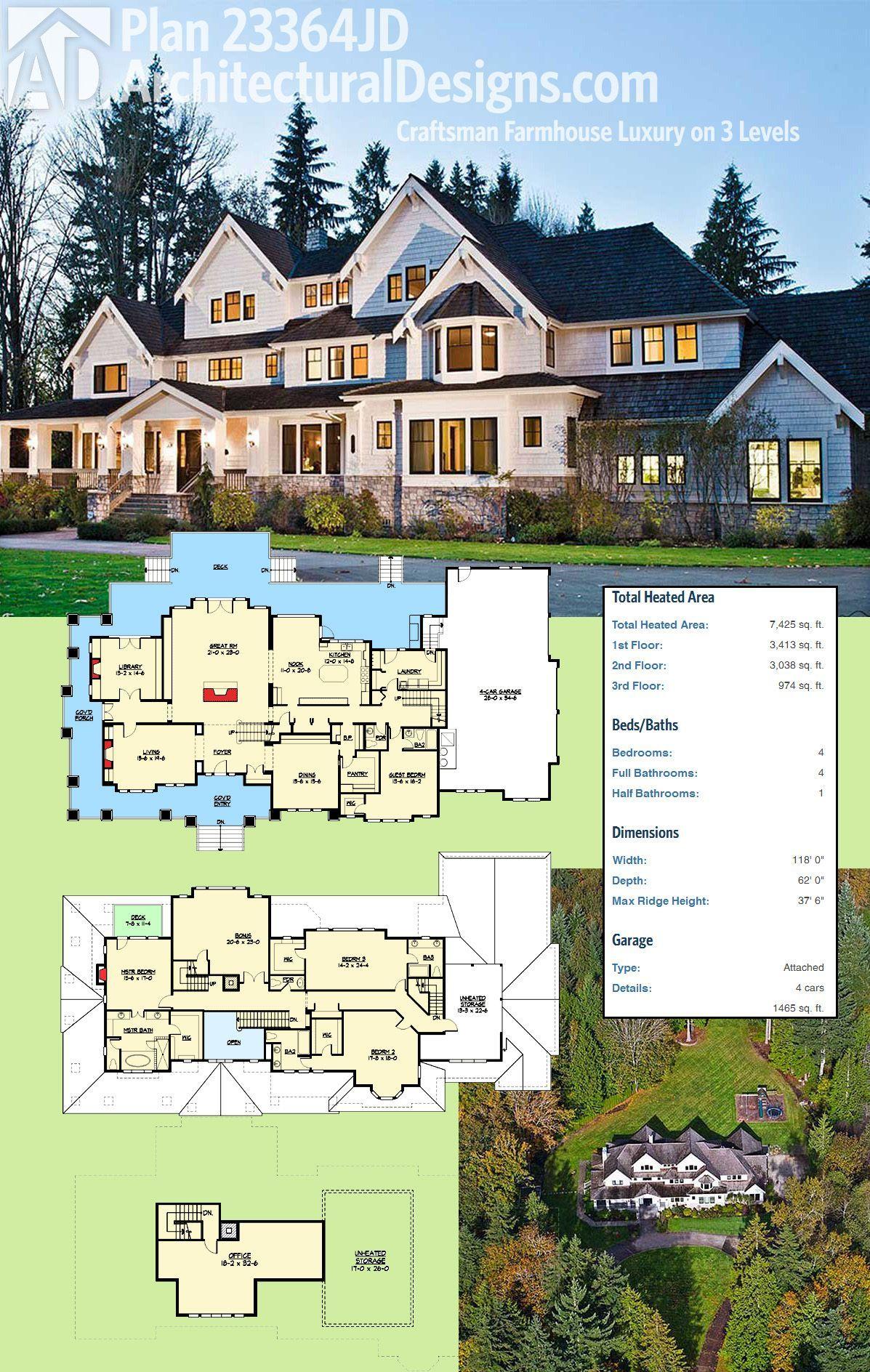Architectural Designs Luxury Craftsman Farmhouse Plan 23364JD