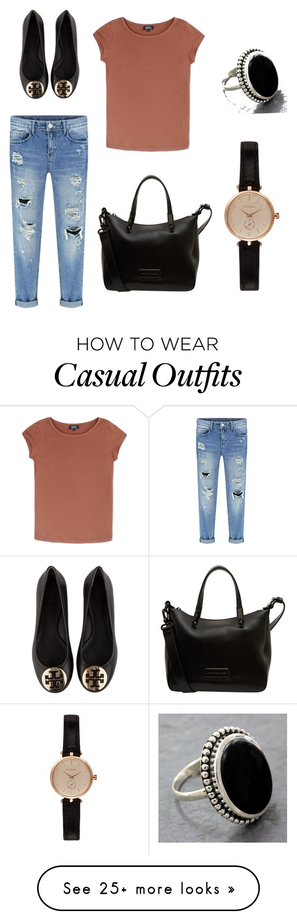 """""""Casual"""" by mtweedy on Polyvore featuring A.P.C., Tory Burch, Marc by Marc Jacobs, Barbour and NOVICA"""