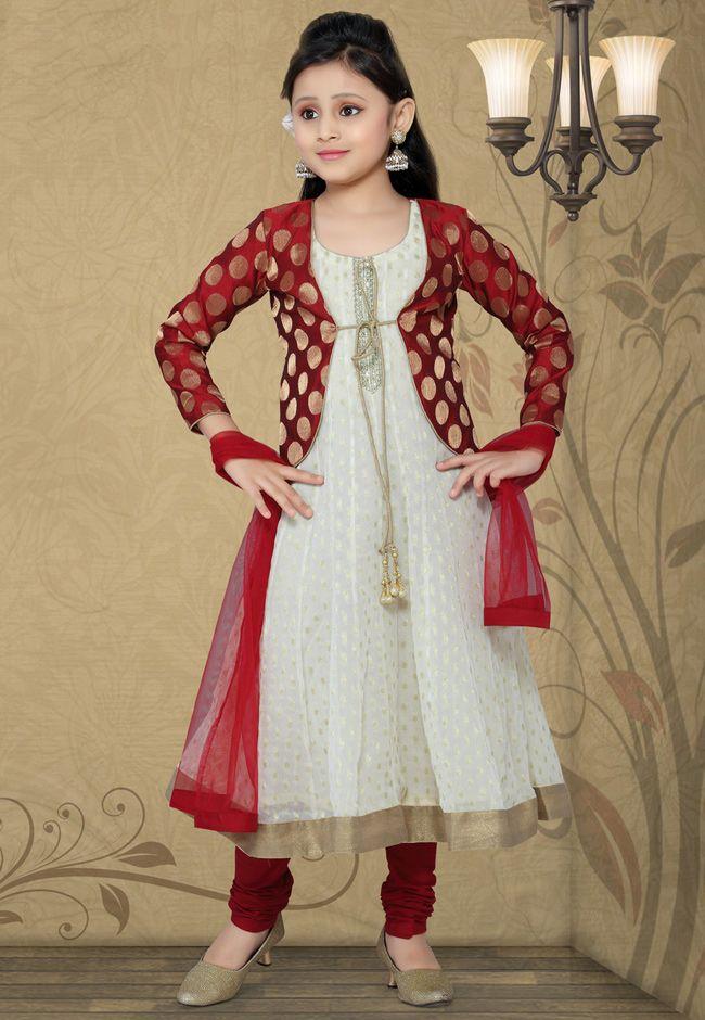 Off White Viscose Readymade Anarkali Churidar Kameez ...