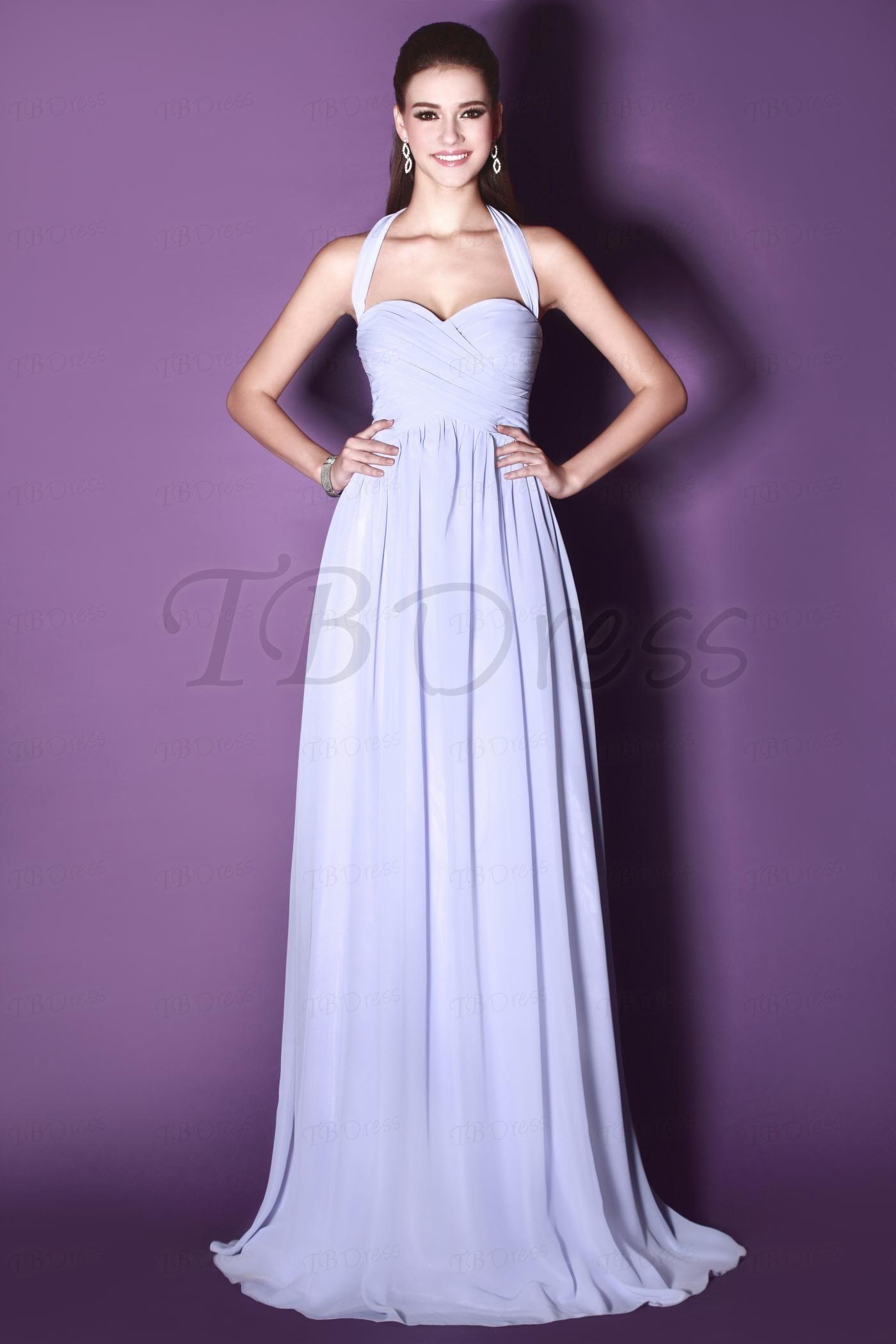 Ruched A-Line Floor-length Halter Sandra\'s Bridesmaid Dress ...
