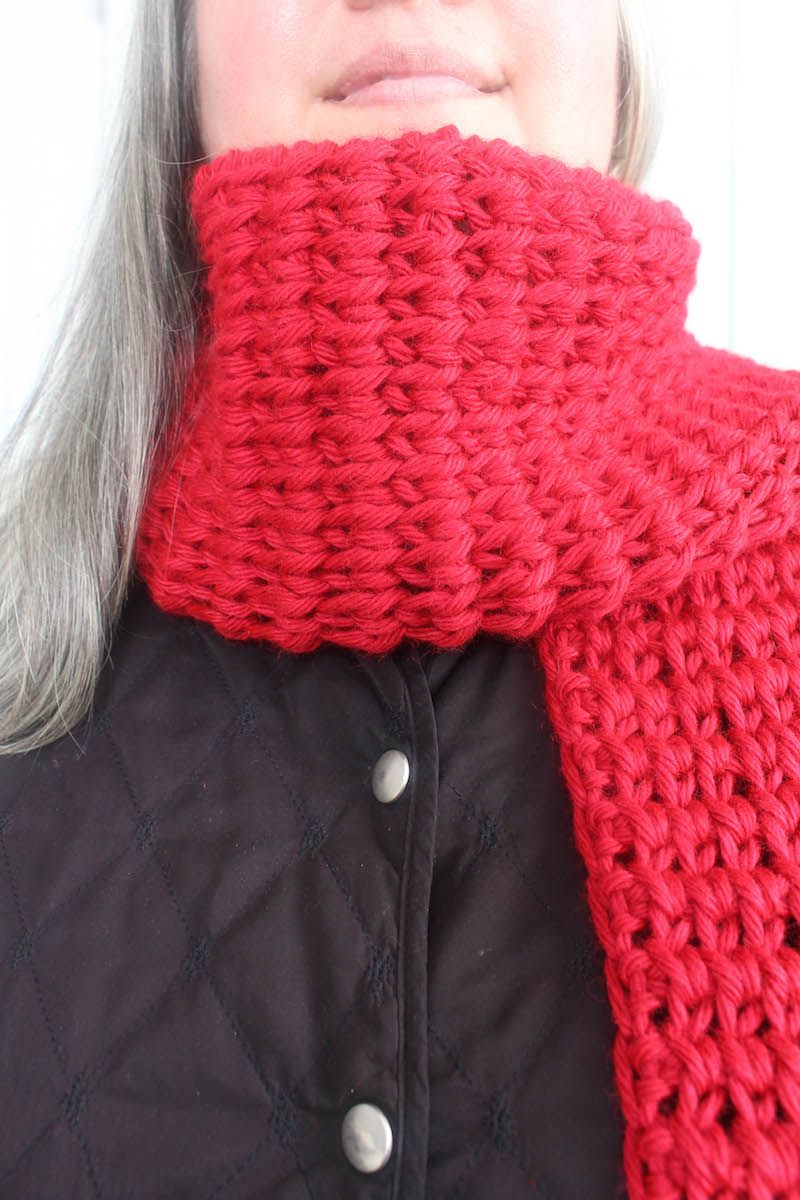 Free crochet pattern and video: Tunisian Extended Knit Scarf ...