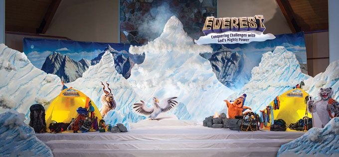 A very awesome stage shot. Tents, mountains, snow and more. #EverestVBS #VBS #VBSDecorations