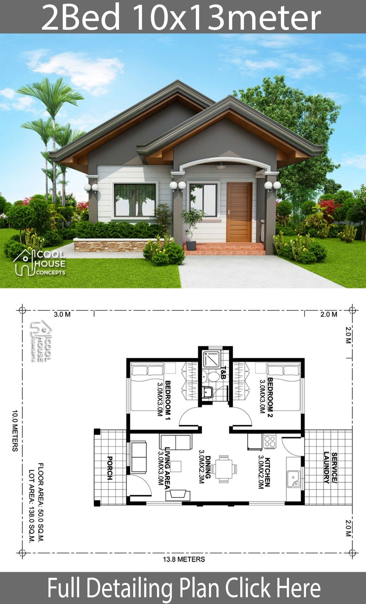 Home Design Plan 10x13m With 2 Bedrooms Home Planssearch Simple House Design Modern House Plans Small House Design