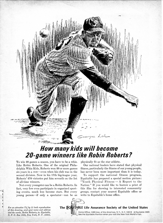 Robin Roberts Mlb Baseball Drawn By Artist George Loh