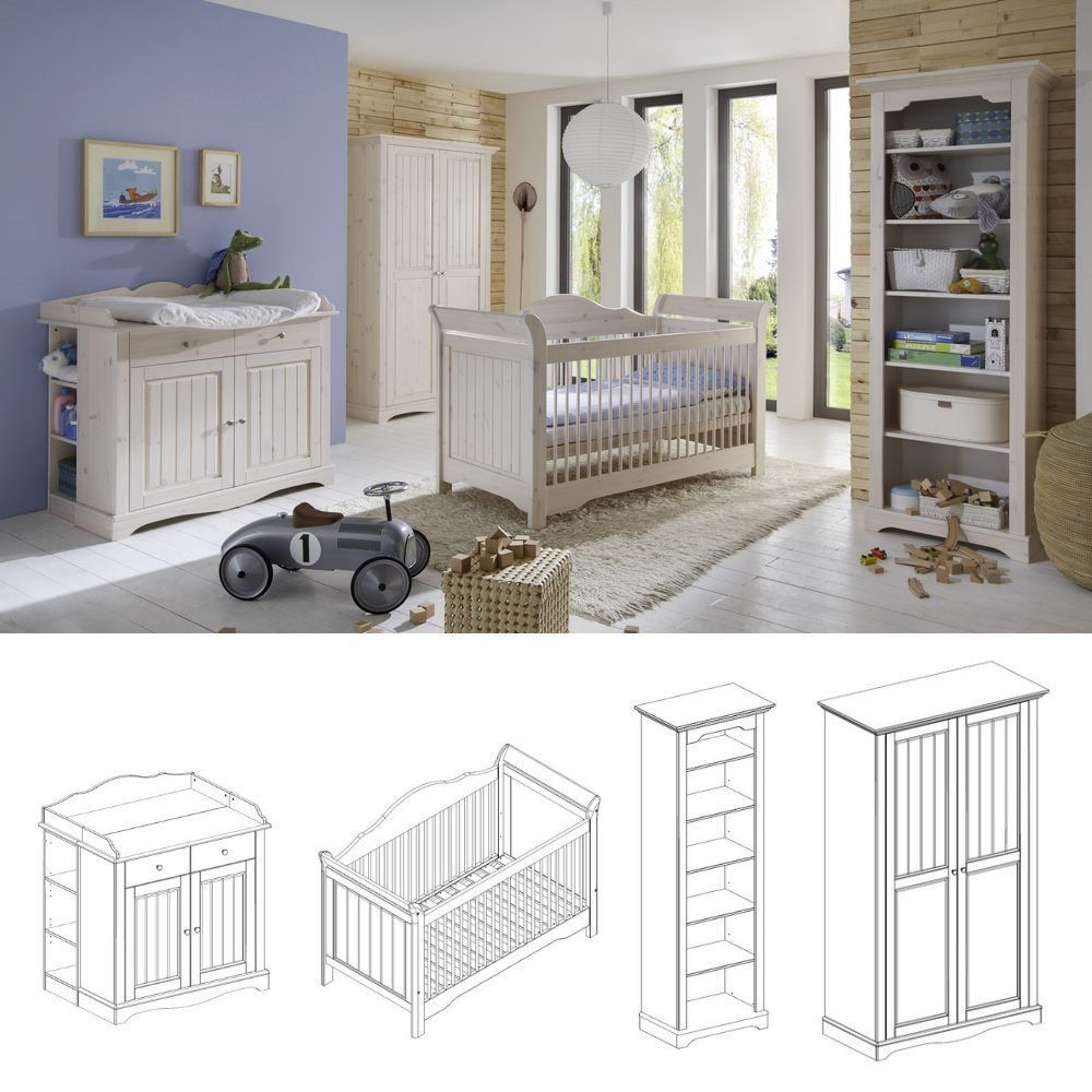 Babyzimmer Lotta 4tlg. Set komplett Kiefer massiv White Wash | Bebek ...