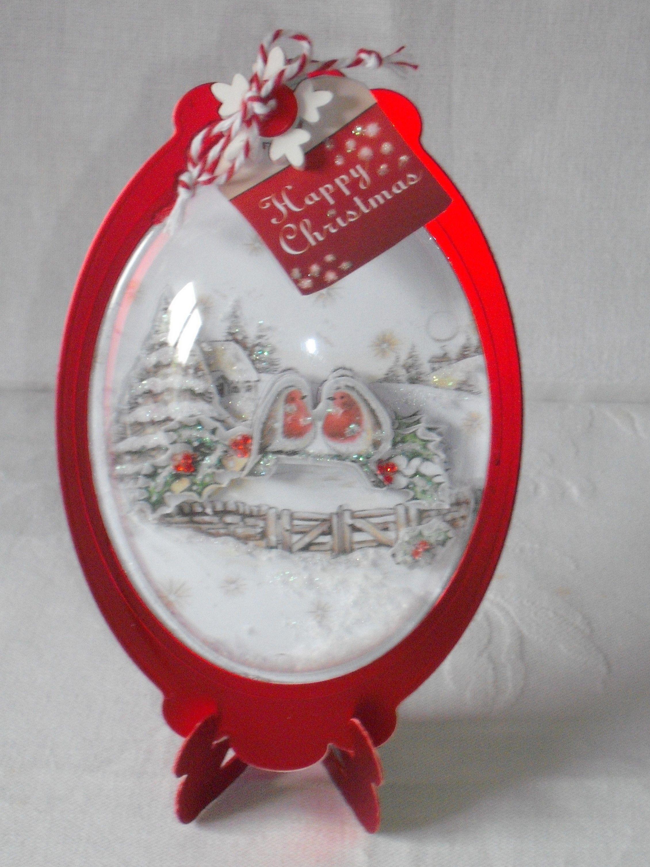 Christmas card made with Katy Sue designs snow globe kit